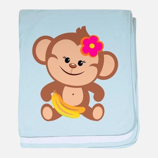 Girl Monkey baby blanket
