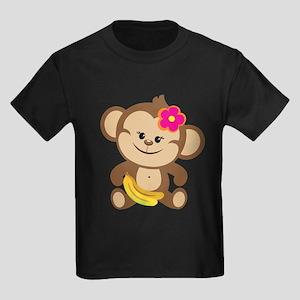 Girl Monkey Kids Dark T-Shirt
