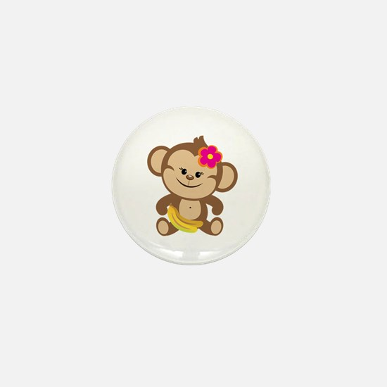 Girl Monkey Mini Button