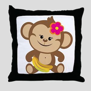 Girl Monkey Throw Pillow