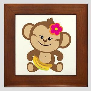 Girl Monkey Framed Tile