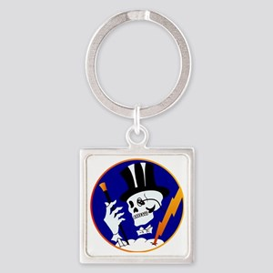 scull-tophat-1800 Square Keychain