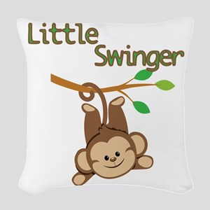 Boy Monkey Little Swinger Woven Throw Pillow