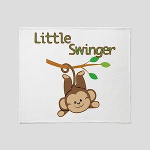 Boy Monkey Little Swinger Throw Blanket