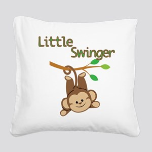 Boy Monkey Little Swinger Square Canvas Pillow