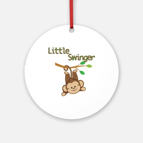 Boy Monkey Little Swinger Ornament (Round)