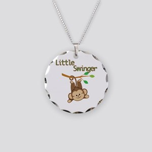 Boy Monkey Little Swinger Necklace Circle Charm