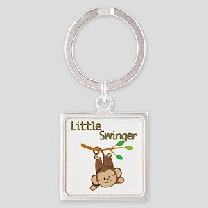 Boy Monkey Little Swinger Square Keychain