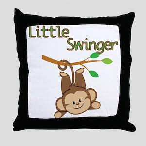 Boy Monkey Little Swinger Throw Pillow