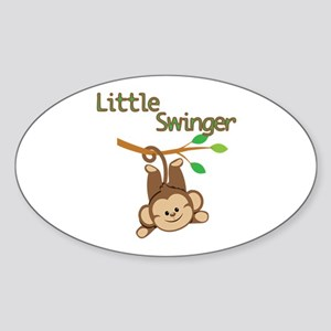 Boy Monkey Little Swinger Sticker (Oval)