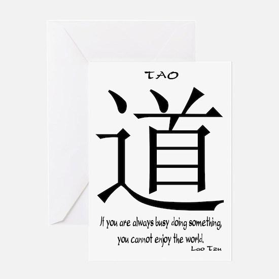 tao-always-busy-tzu-white Greeting Card