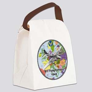 b-17map-round Canvas Lunch Bag