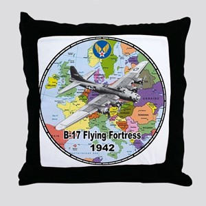 b-17map-round Throw Pillow