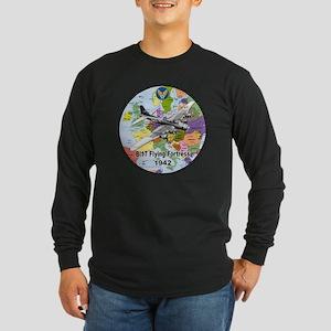 b-17map-round Long Sleeve Dark T-Shirt