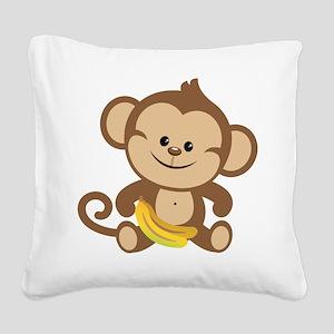 Boy Monkey Square Canvas Pillow