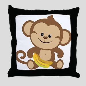 Boy Monkey Throw Pillow