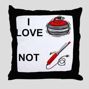 curling-not-curling-white Throw Pillow