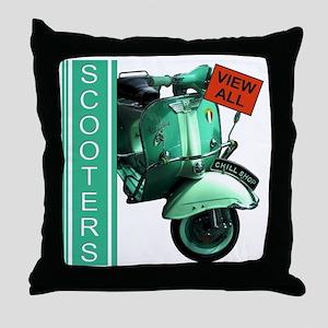 teal-vespa-banner Throw Pillow