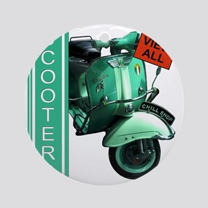 teal-vespa-banner Round Ornament