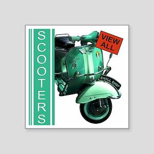 "teal-vespa-banner Square Sticker 3"" x 3"""