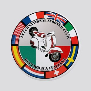 italy-WHT-scoot Round Ornament