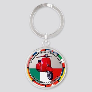 italy-RED-scoot Round Keychain