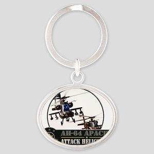 ah-64-apache Oval Keychain