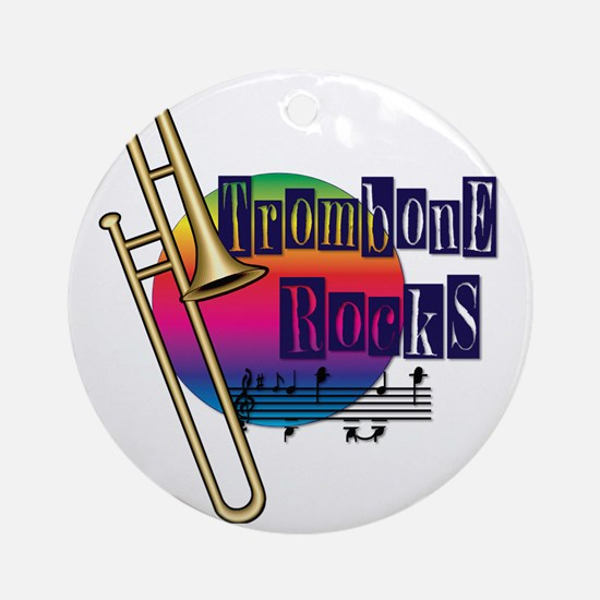 21064936-trombone-rocks Round Ornament
