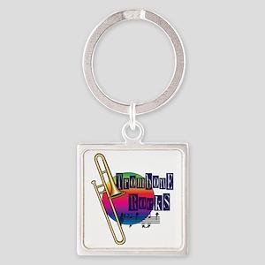 21064936-trombone-rocks Square Keychain