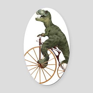 Tyrannosaurus rex on Penny Farthin Oval Car Magnet