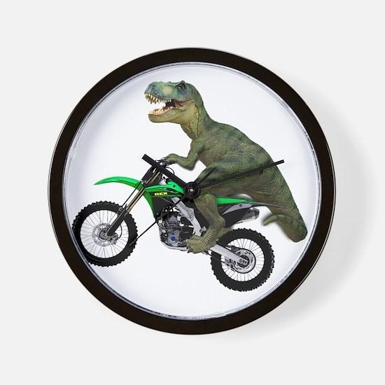 Tyrannosaurus Rex On Motorcycle Wall Clock