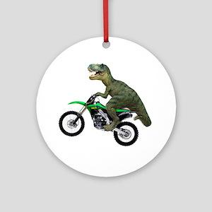 Tyrannosaurus Rex On Motorcycle Round Ornament