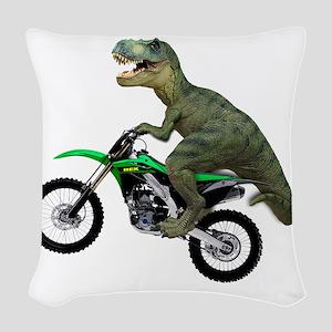 Tyrannosaurus Rex On Motorcycl Woven Throw Pillow