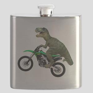 Tyrannosaurus Rex On Motorcycle Flask