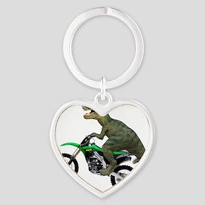 Tyrannosaurus Rex On Motorcycle Heart Keychain