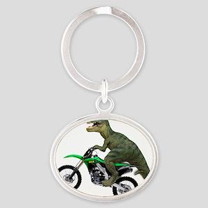 Tyrannosaurus Rex On Motorcycle Oval Keychain