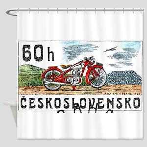 1975 Czech Jawa Motorcycle Postage Stamp Shower Cu