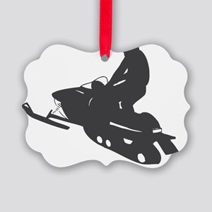 snow-mobile Picture Ornament