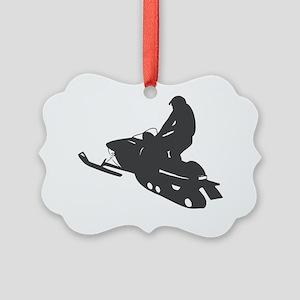 snow-mobile Picture Ornament