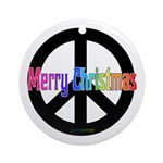 Peace Sign Merry Christmas Ornament (Round)