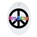 Peace Sign Merry Christmas Oval Ornament