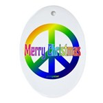 Merry Christmas Green Peace Sign Oval Ornament