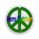 Merry Christmas Green Peace Sign Ornament (Round)