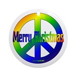 Merry Christmas Peace Sign Ornament (Round)