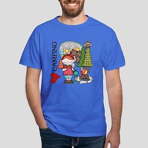 Redhead Girl Loves Camping Dark T-Shirt