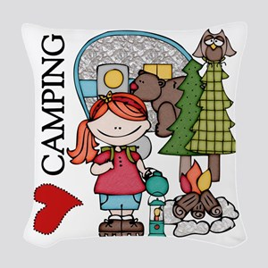Redhead Girl Loves Camping Woven Throw Pillow