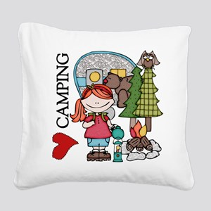 Redhead Girl Loves Camping Square Canvas Pillow