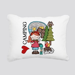 Redhead Girl Loves Camping Rectangular Canvas Pill