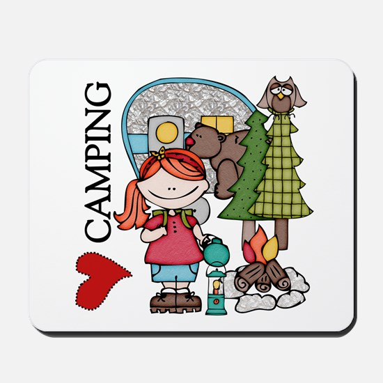 Redhead Girl Loves Camping Mousepad