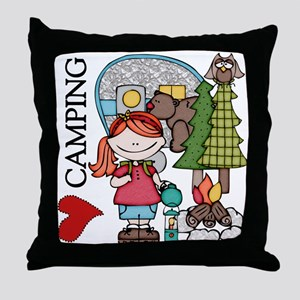 Redhead Girl Loves Camping Throw Pillow